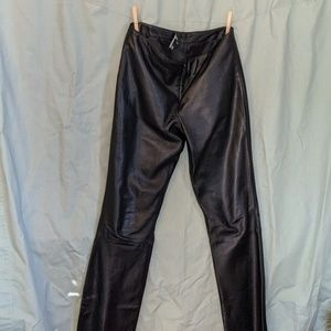 Arden B Genuine Leather Black Pants